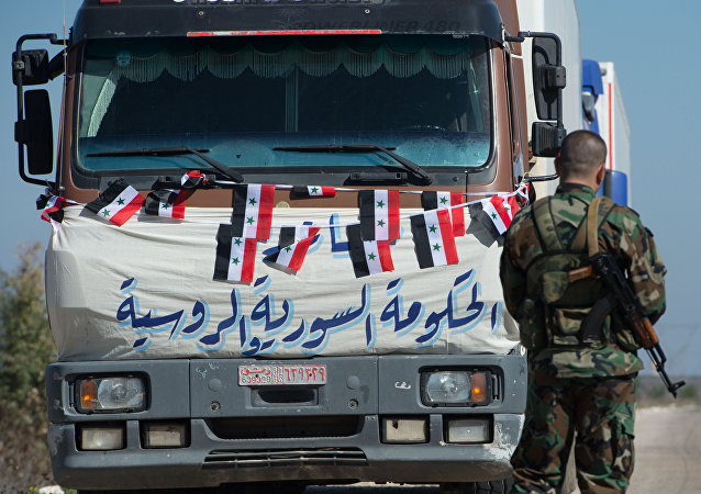A convoy that delivered humanitarian aid, Syria