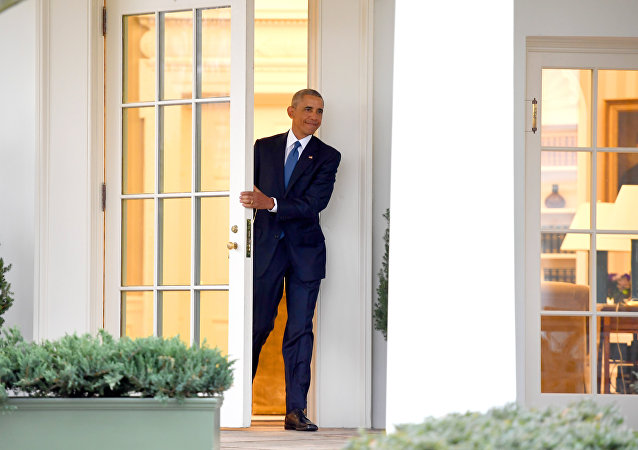 US President Barack Obama departs the Oval Office for the last time as president, at the White House in Washington, DC January 20, 2017