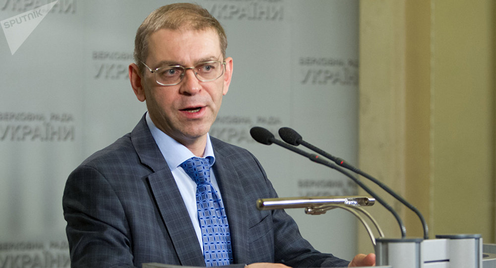 Acting Head of the Ukrainian Presidential Executive Office Sergei Pashinsky at a news conference in Kiev. (File)