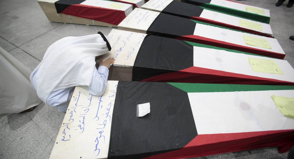 Coffins of victims of Friday's bombing at the Imam Sadeq mosque in Kuwait City